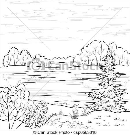 Line clipart river line River Forest landscape Landscape outline