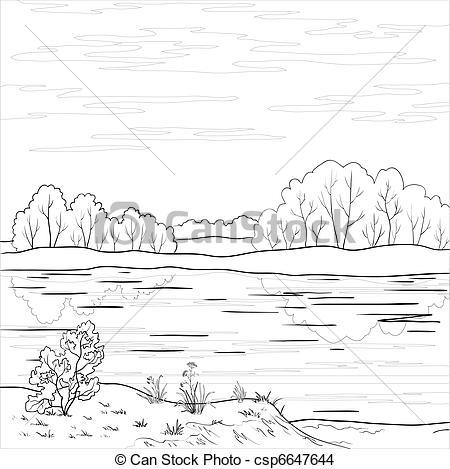 Line clipart river line River Forest Vector Landscape outline