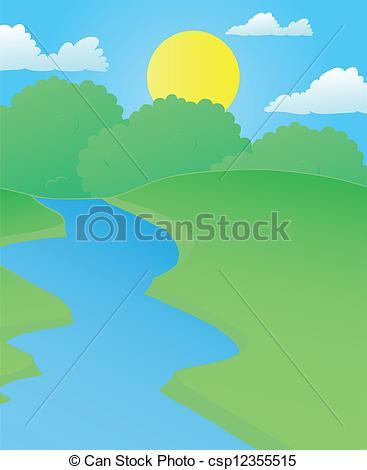 Line clipart river line River Landscape illustration in Art