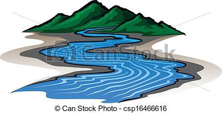 Line clipart river line And Mountains graphic Illustration of