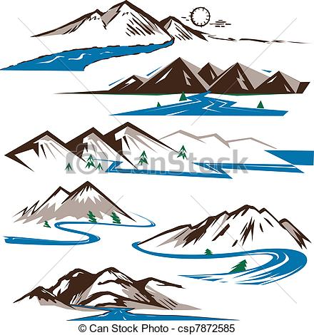 Line clipart river line And Mountains  art Mountains