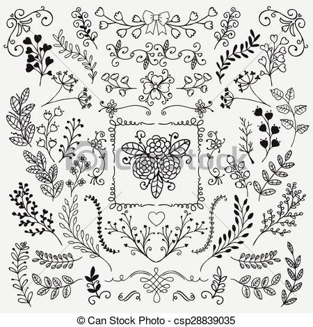 Line clipart rustic Sketched Doodle Vectors Floral Rustic