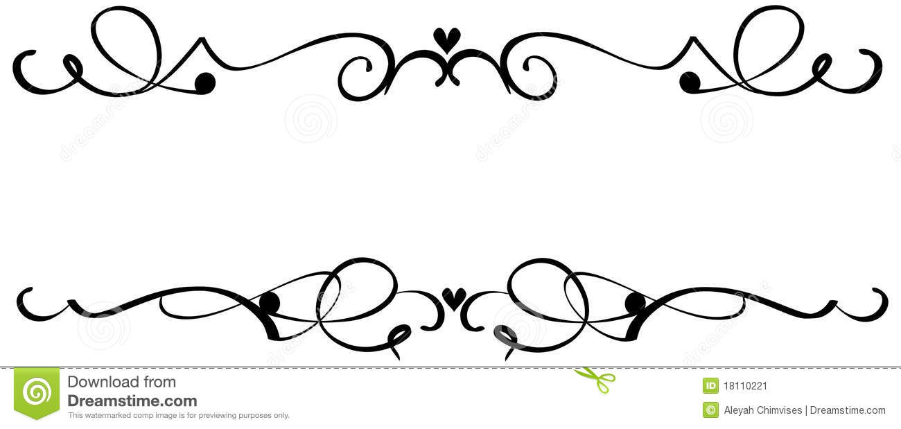 Ornamental clipart single line border Clip scroll Fancy clipart Corner
