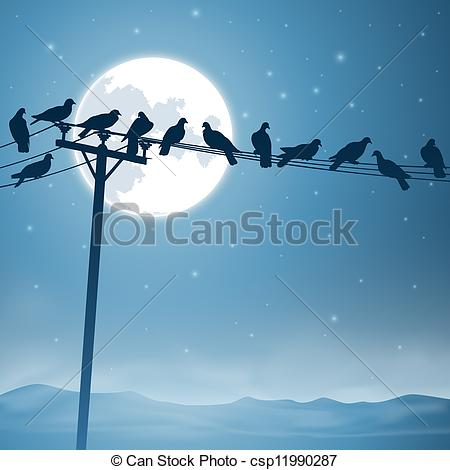 Lines clipart telephone wire A Vector Birds with on