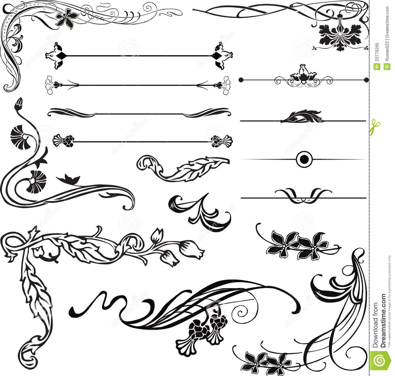 Lines clipart art deco Corners Decorative nouveau corners Decorative