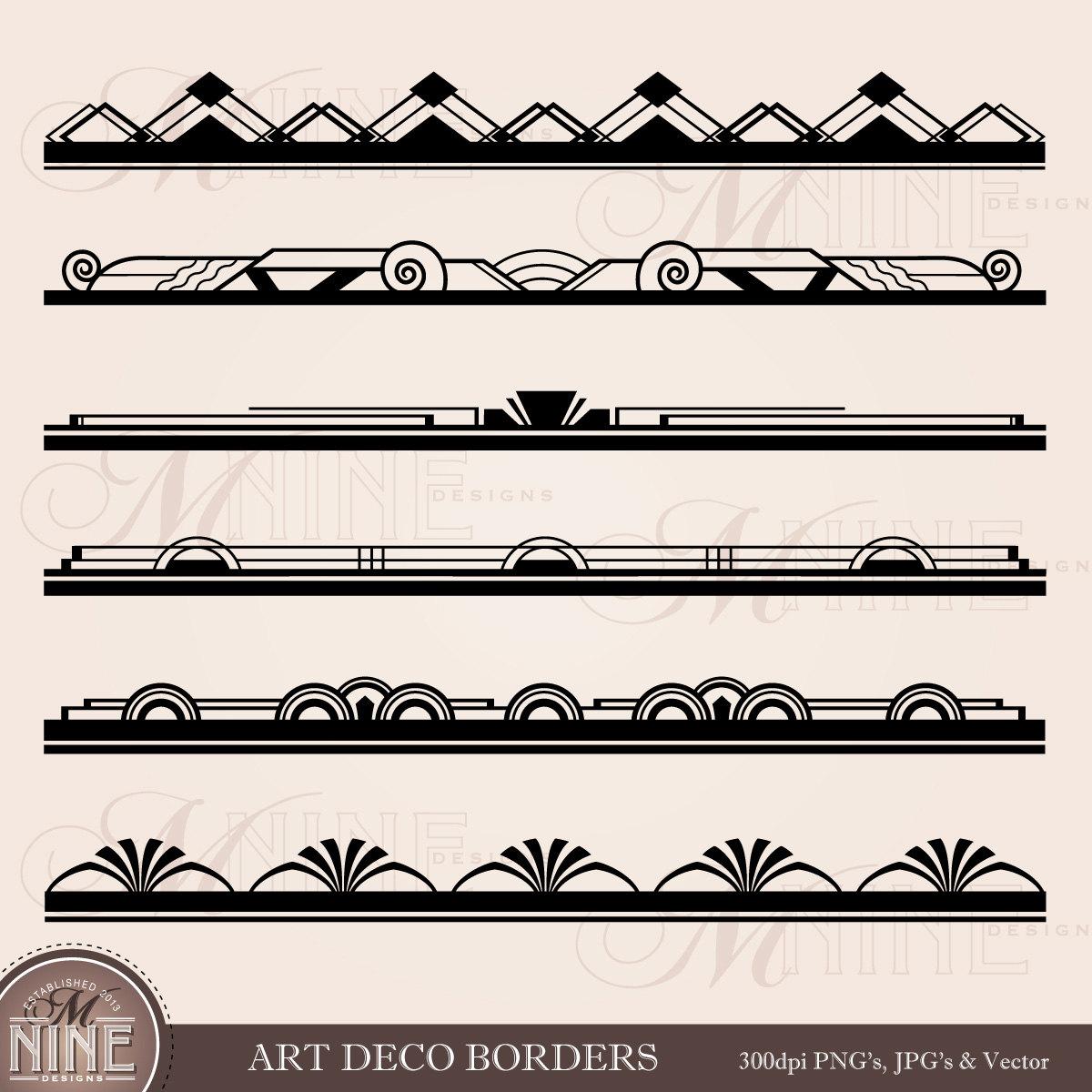 Lines clipart art deco Clip BORDER Art Deco Design