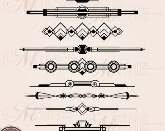 Lines clipart art deco Clipart bordure Argent Art Art