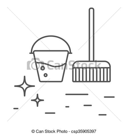 Lines clipart bucket Icons line and and mop