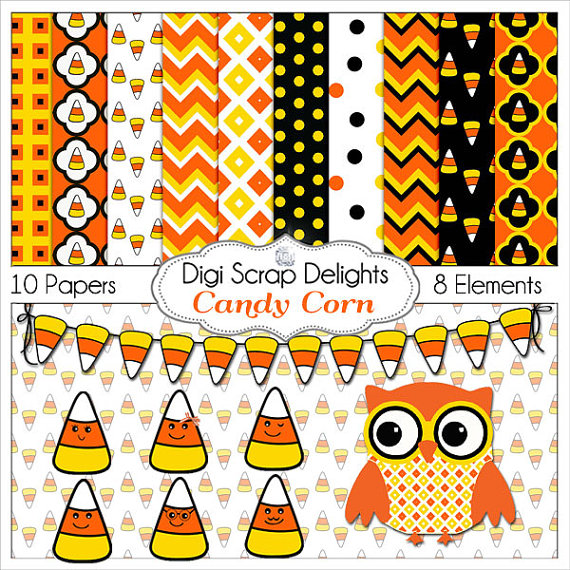Lines clipart candy corn / Digital Yellow Card Candy