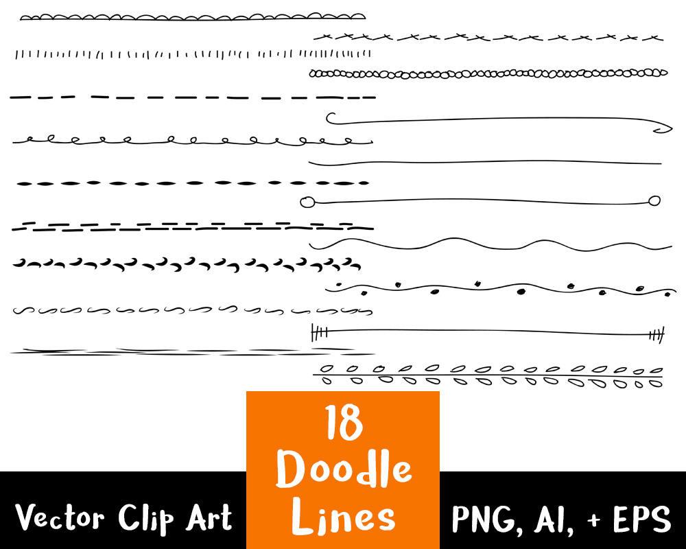 Lines clipart doodle Set 18 Hand Lines Vector