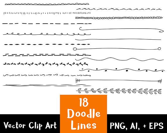 Lines clipart doodle Hand Lines Clipart Set Clip