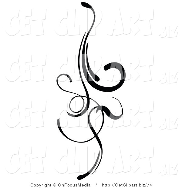 Lines clipart elegant With Curls Element Black Design