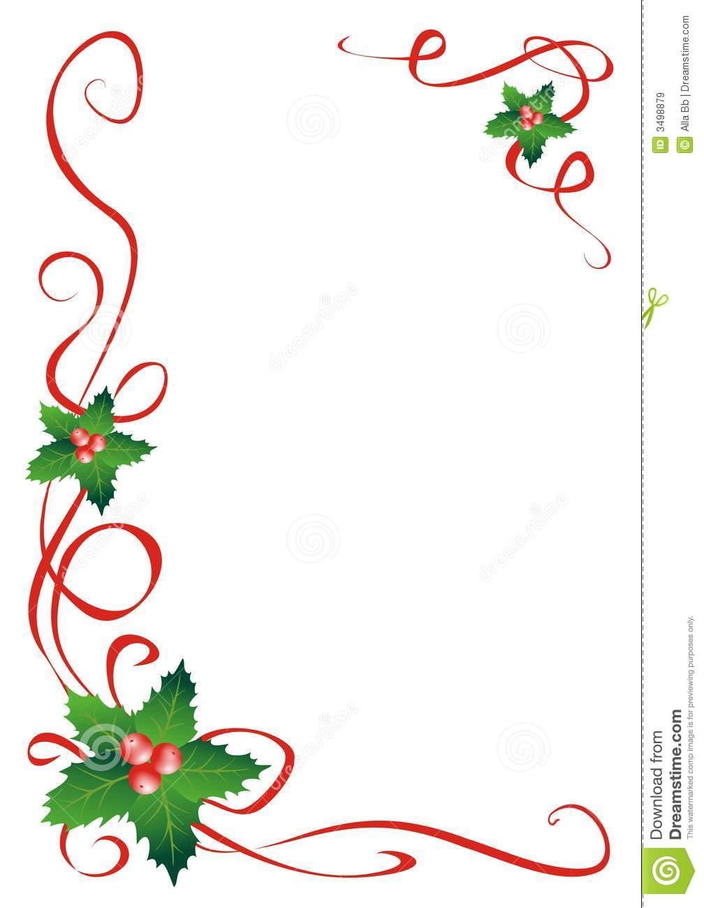 Holley clipart corner border  Christmas Holly Clipart Lines