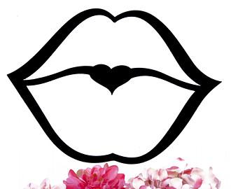 Drawn kisses lip outline Etsy Kissing Black Wall Metal