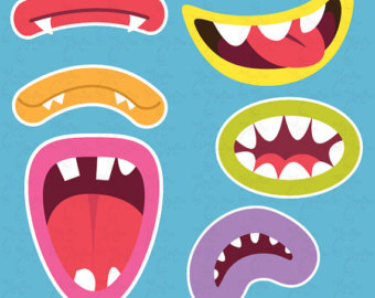 Lips clipart monster Digital Set Cute Printable mouth