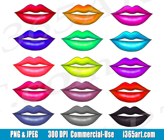 Lips clipart purple lip Clipart Lip Kisses PNG Digital