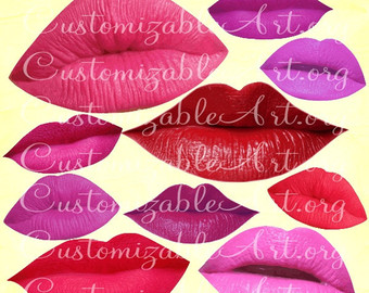 Lips clipart purple lip Digital Printable Images Art Smile