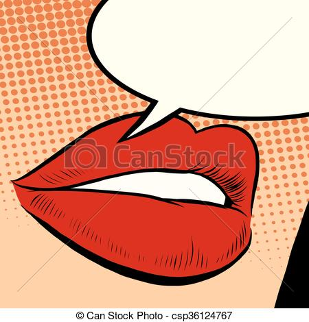Lips clipart red Retro lips Clip of red