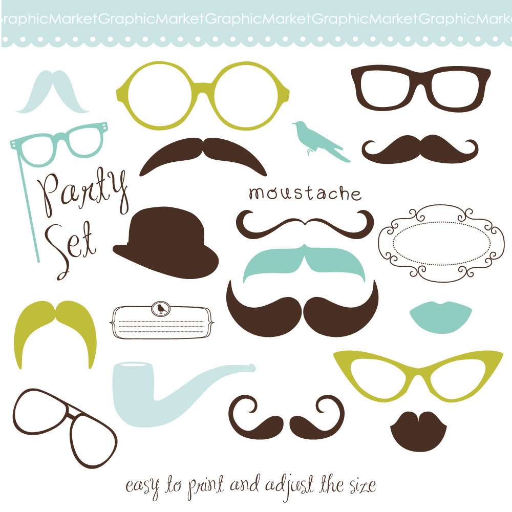 Lips clipart round spectacles Lips  Mustache Clipart Photo