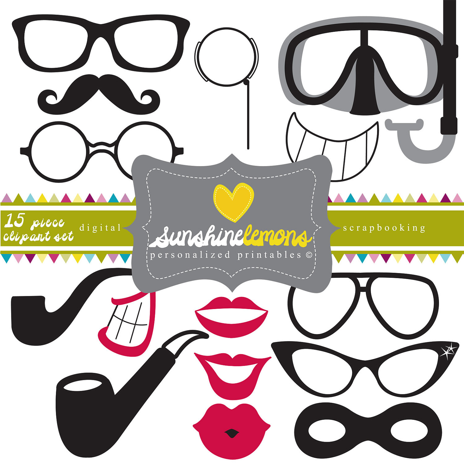 Lips clipart round spectacles Lips Party Party Glasses clipart