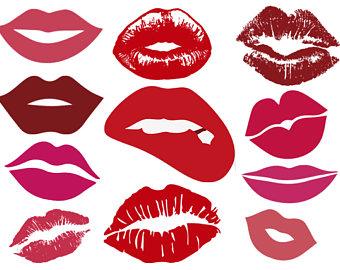 Kisses clipart lip gloss Kisses silhouette clipart eps files