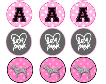 Lips clipart victoria secret Secret Pink/Victoria toppers/sticker cupcake themed