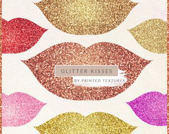 Lipstick clipart glitter Etsy CLip lipstick Kiss Lips