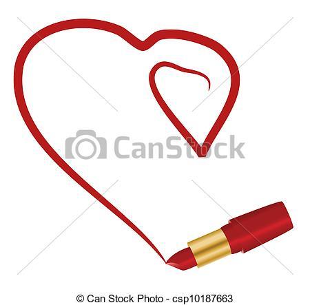Lipstick clipart heart Clip and csp10187663 lipstick Heart