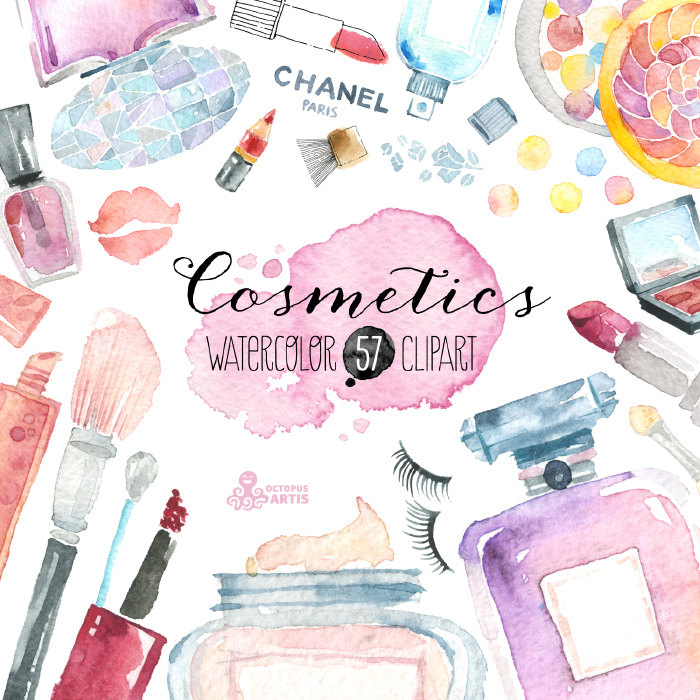 Makeup clipart chanel perfume 57 painted Cosmetics clipart Watercolor