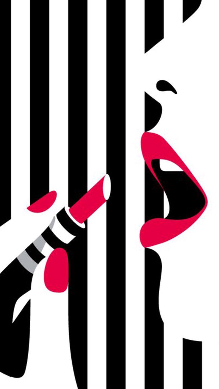 Lipstick clipart wallpaper Makeup girl art White Wallpaper