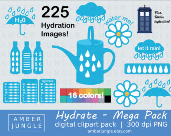 Bottle clipart hydration Art Clipart Kit Instant Mega