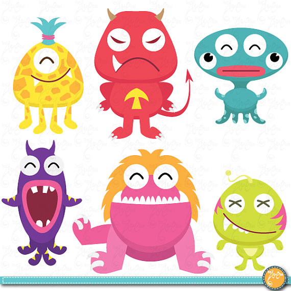 Monster clipart cute monster Paper Use Commercial YenzArtHaut Monsters
