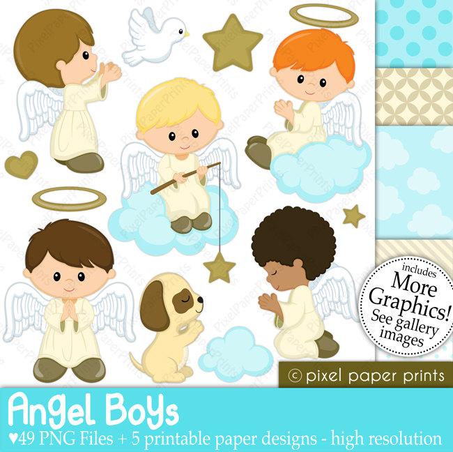 Little Boy clipart angel Paper Digital clip set