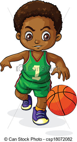 Little Boy clipart basketball player Black young boy  playing