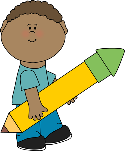 Child clipart pencil Clip Boy Carrying Big Yellow