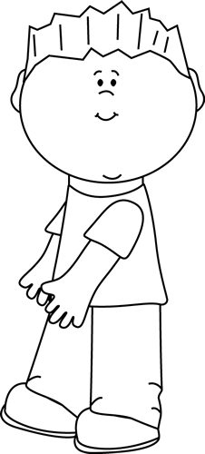 Little Boy clipart black and white And Clip Kids Happy Little