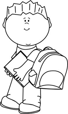 Child clipart black and white Black Carrying and and White