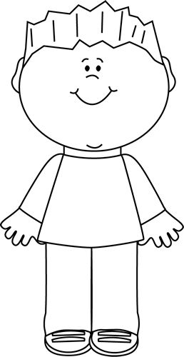 Little Boy clipart black and white Kid and white kid black