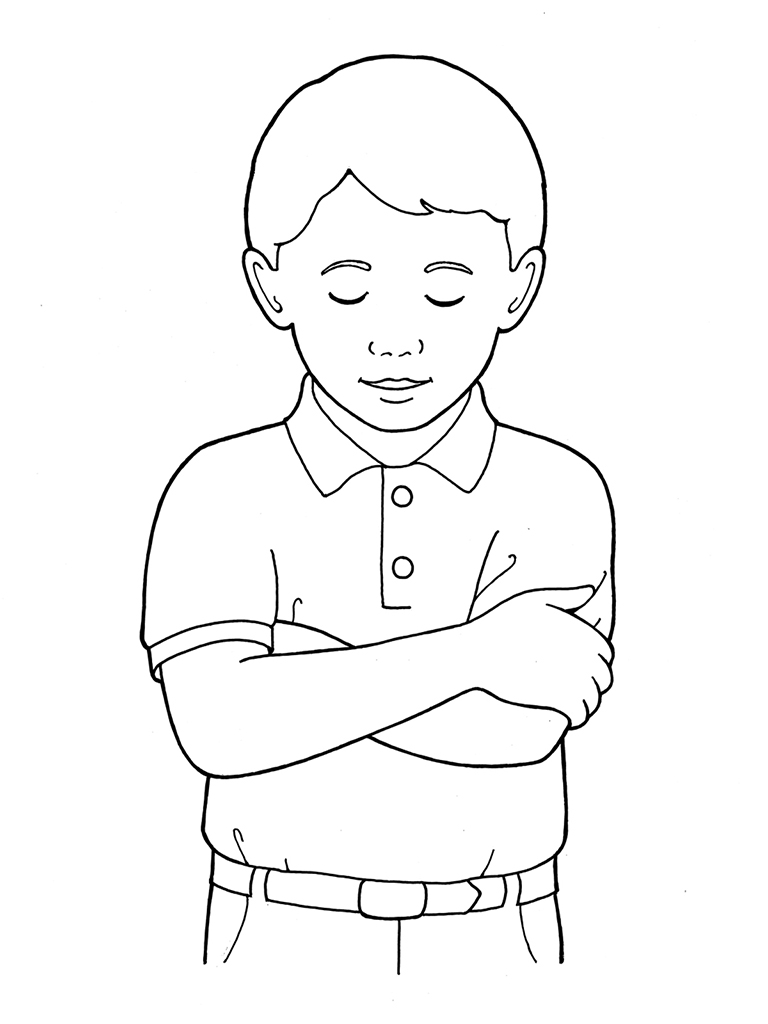 Little Boy clipart black and white Primary and Bowing Folding Boy