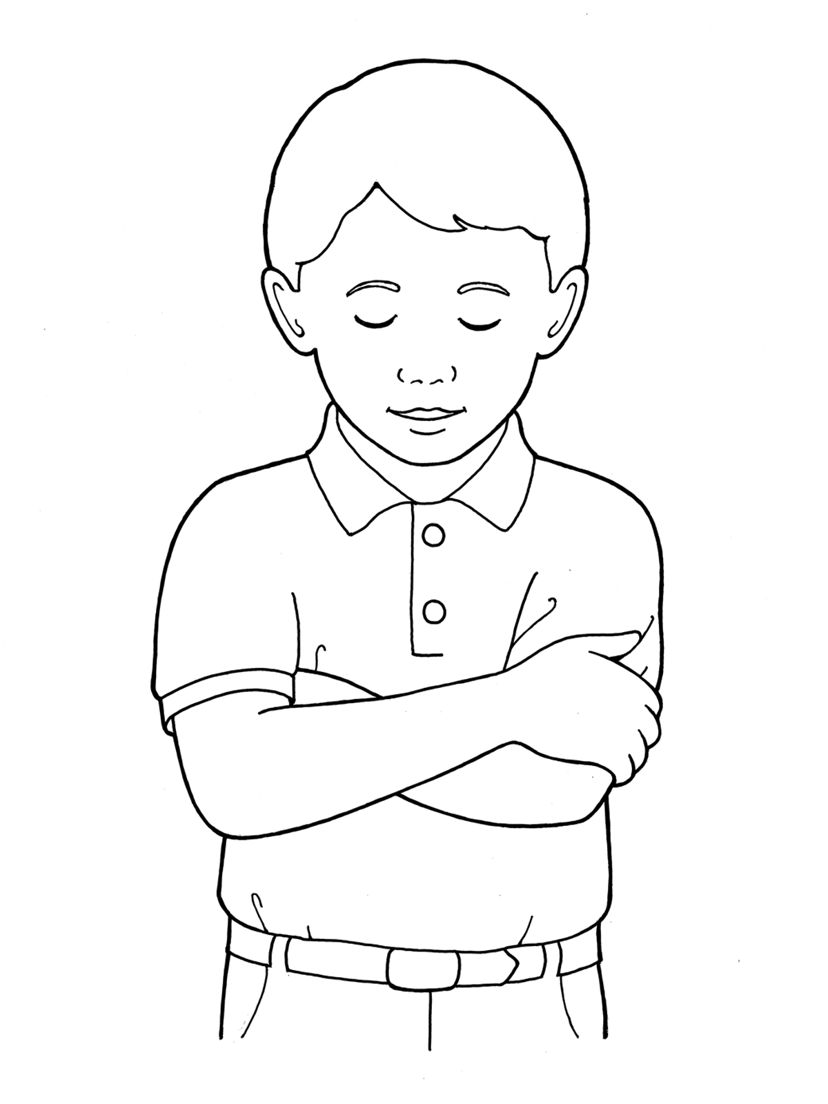 Little Boy clipart boy head Download Head Folding Bowing Arms