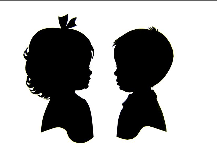 Shaow clipart little boy Gender Reveal girl silhouettes boy