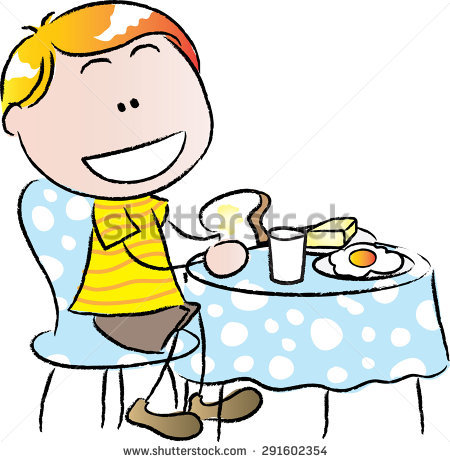 Breakfast clipart little boy Vector collection Eating breakfast eating