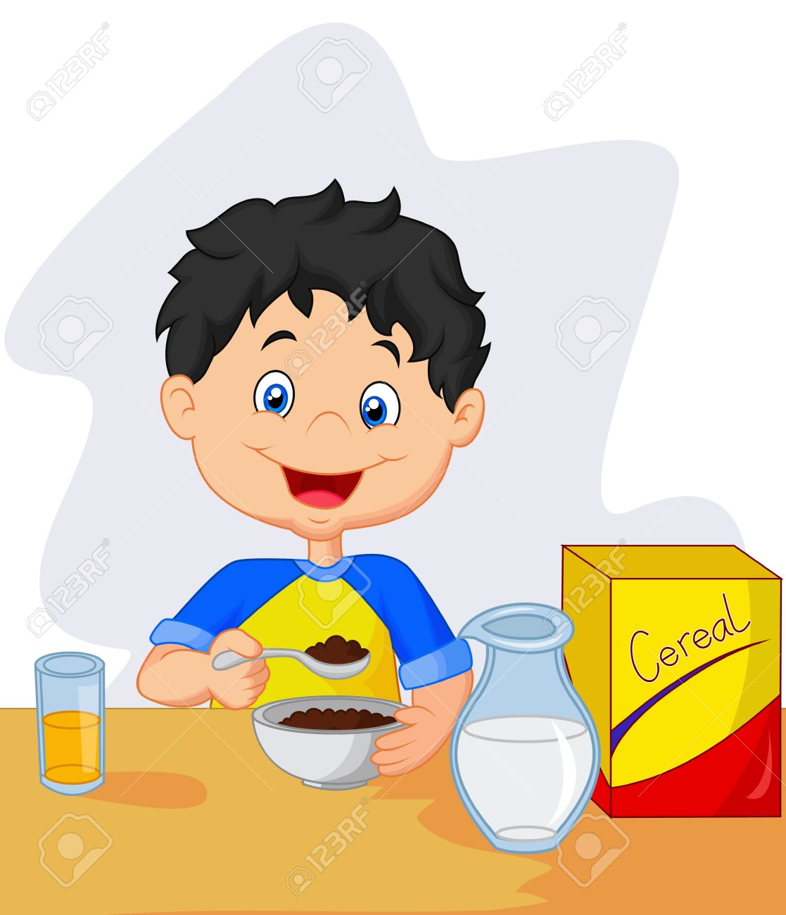 Breakfast clipart little boy Cereals Boy boy Having breakfast