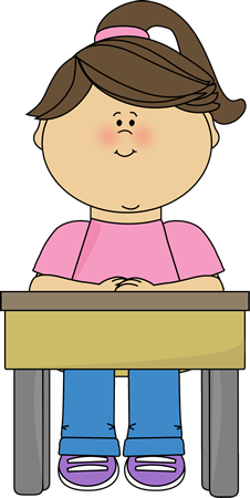 Desk clipart cute student Little quietly girl clipart sitting