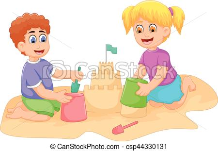 Little Boy clipart cartoonized Sand playing Vector little and