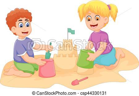 Little Boy clipart cartoonized Little sand playing little and