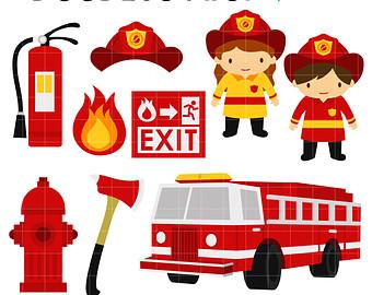 Little Boy clipart fireman Scrapbooking Clip Digital clip Firefighters