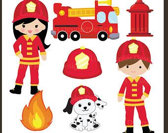Woman clipart fire fighter Etsy Fire / Fire Fireman