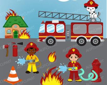 Little Boy clipart fireman Art Fireman Clipart clipart Digital