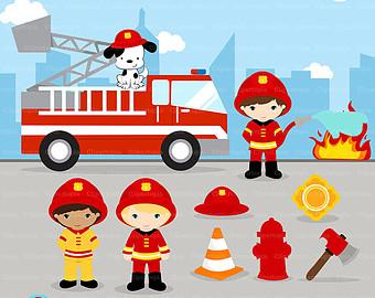Little Boy clipart fireman Art Fireman Ballerina Clipart Digital